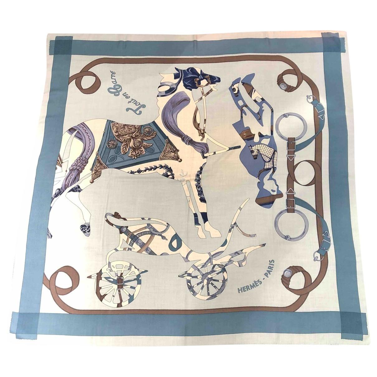 Hermès Carré Géant silk 140 Blue Cashmere scarf for Women \N