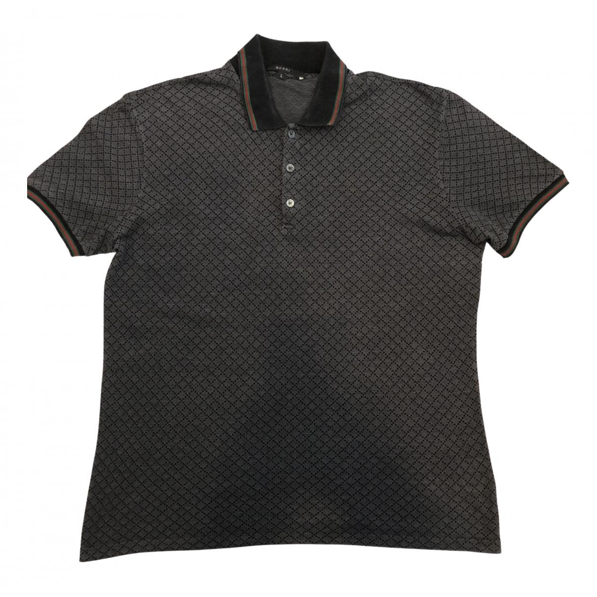Gucci - Polos   pour homme en coton - anthracite