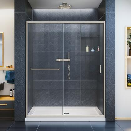 DL-6972L-22-04 Infinity-Z 34 D X 60 W X 74 3/4 H Clear Sliding Shower Door In Brushed Nickel And Left Drain Biscuit