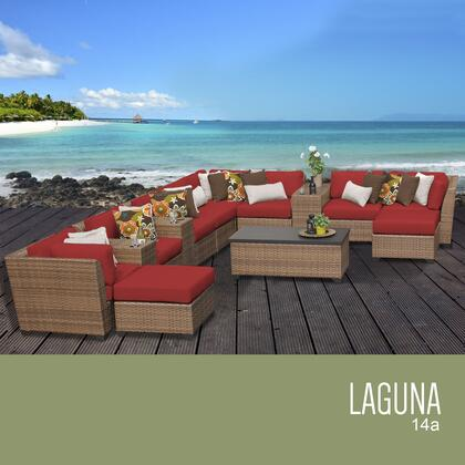 LAGUNA-14a-TERRACOTTA Laguna 14 Piece Outdoor Wicker Patio Furniture Set 14a with 2 Covers: Wheat and