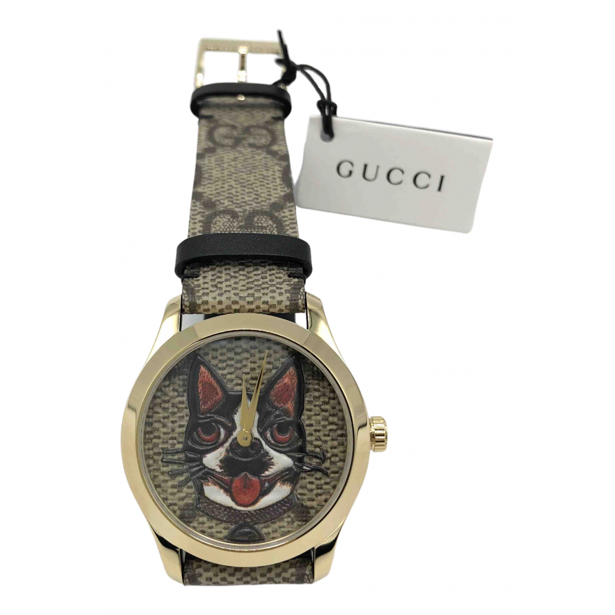 Gucci - Montre G-Timeless pour femme en plaque or - marron