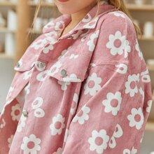 Drop Shoulder Flap Detail Allover Floral Print Cord Jacket