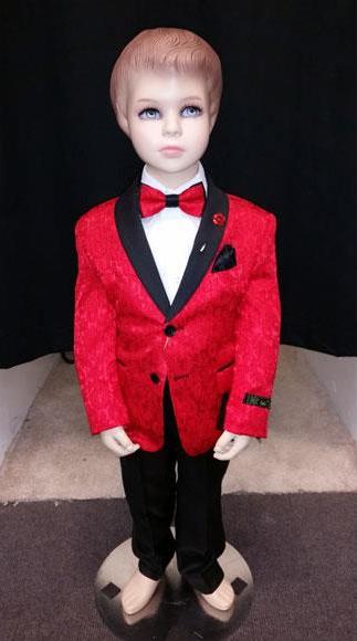 Kids Children Boys Tuxedo Red Paisley Two toned