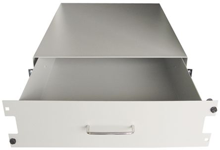 RS PRO Grey 3U Server Rack Drawer, 500mm x 483mm