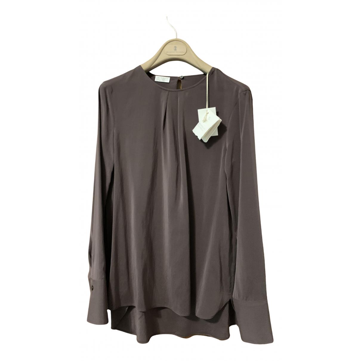 Brunello Cucinelli - Top   pour femme en soie - gris