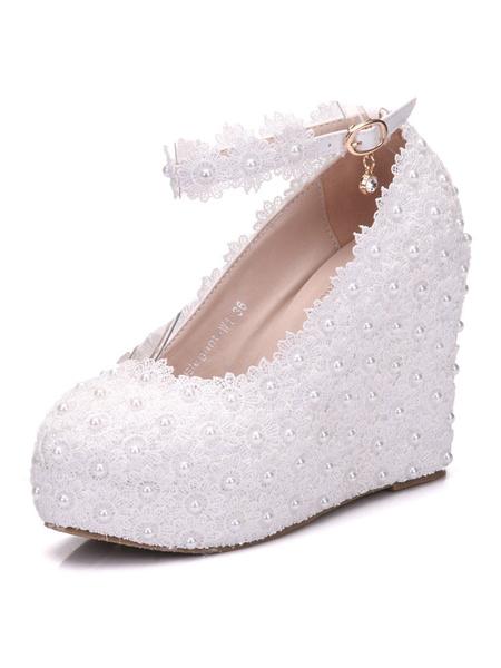 Milanoo Zapatos de novia de PU Zapatos de Fiesta de tacon de cuña Zapatos blanco  Zapatos de boda de puntera redonda 11cm con perlas 2.5cm