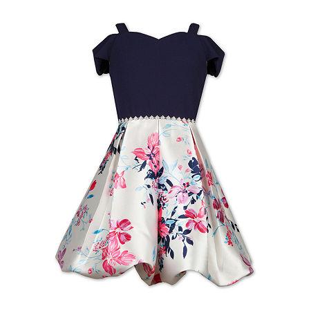 Speechless Big Girls Embellished Short Cold Shoulder Sleeve Party Dress, 14 , Pink
