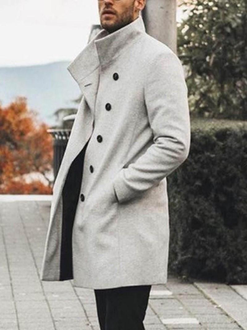 Ericdress Plain Button Mid-Length Style European Mens Coat