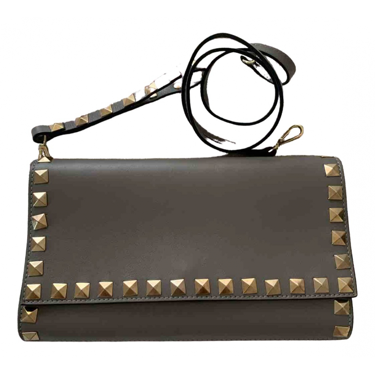 Non Signé / Unsigned \N Grey Leather Clutch bag for Women \N