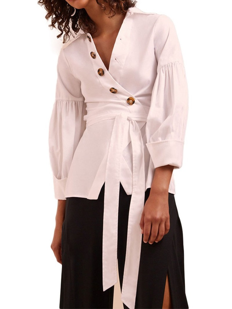 Ericdress Lace-Up Button Three-Quarter Sleeve Blouse