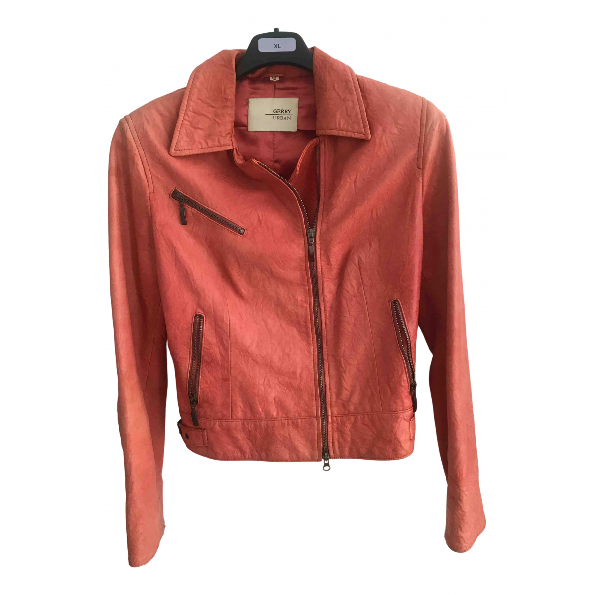 Non Signé / Unsigned N Brown Leather jacket for Women 42 FR