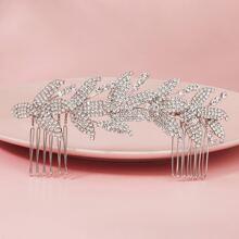 Haarklemme Kamm mit Strass Dekor und Blatt Design