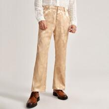 Men Zipper Fly Jacquard Tailored Pants