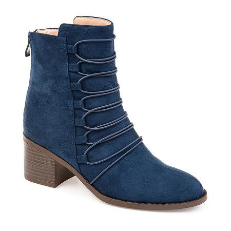 Journee Collection Womens Cyan Booties Stacked Heel Zip, 7 1/2 Medium, Blue