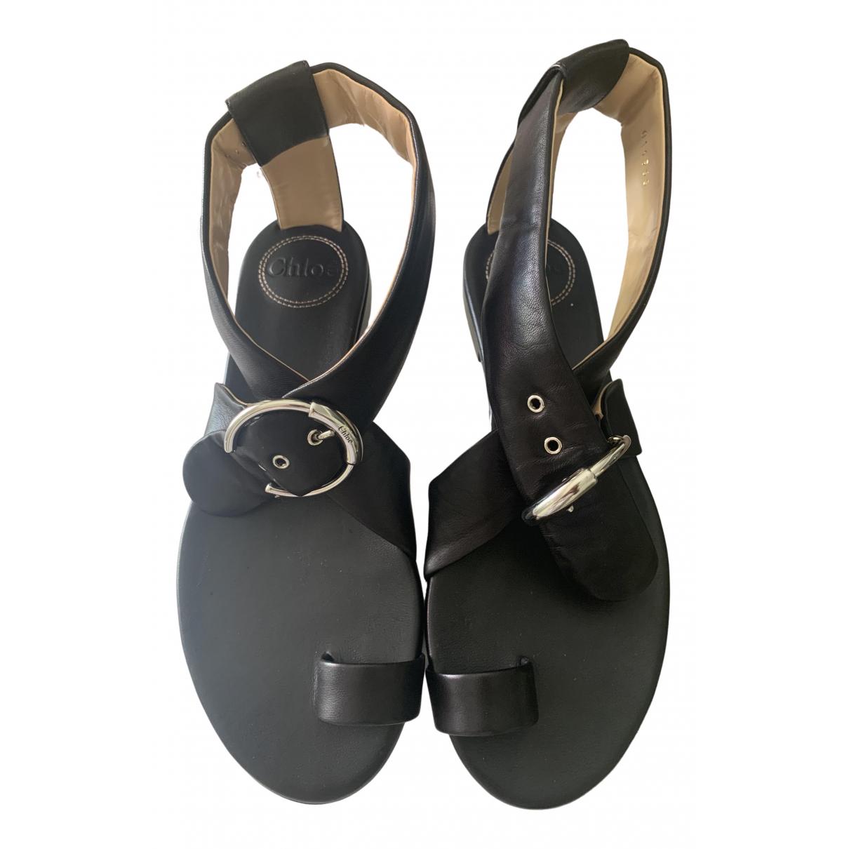 Chloé Chloé Black Leather Sandals for Women 37 EU