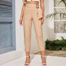 Belted Solid Straight Leg Pants