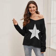 Camiseta amplia de hombros caidos con estampado de estrella