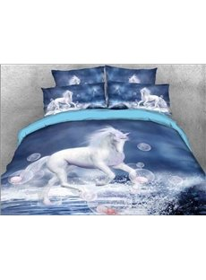 Vivilinen 3D White Unicorn and Bubbles Printed 5-Piece Comforter Sets
