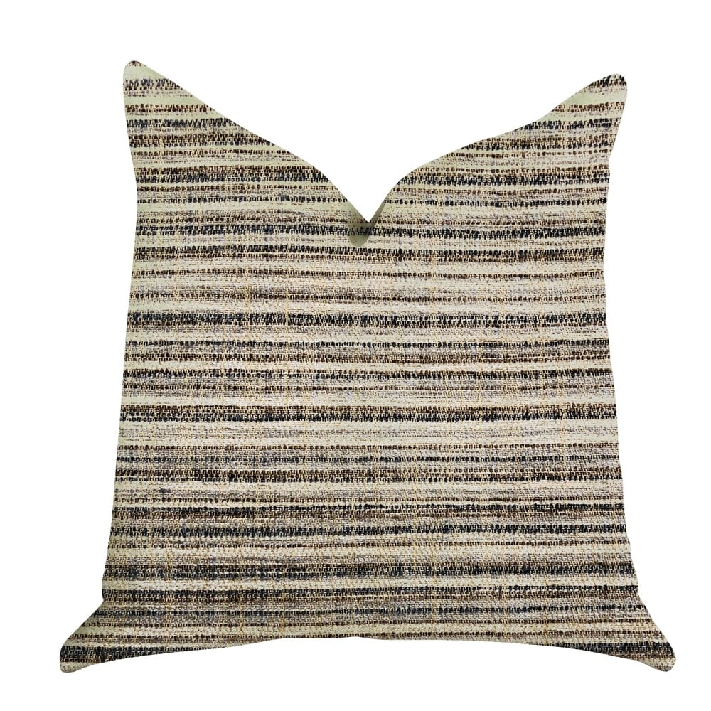 Plutus Skyway Lines Luxury Brown-Beige Multi Tones Decorative Throw Pillow (Rectangle - double sided 20