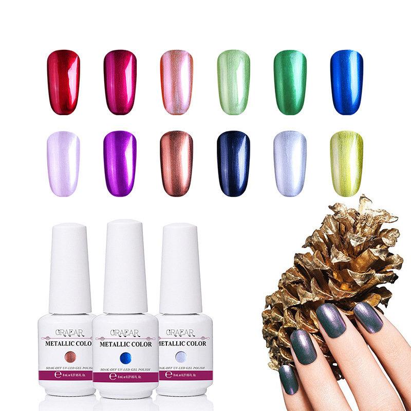 Metallic Mirror Nail Polish Nail Gel Polish Shell Shimmer Nail Gel Soak-off UV Gel Nail Art Beauty