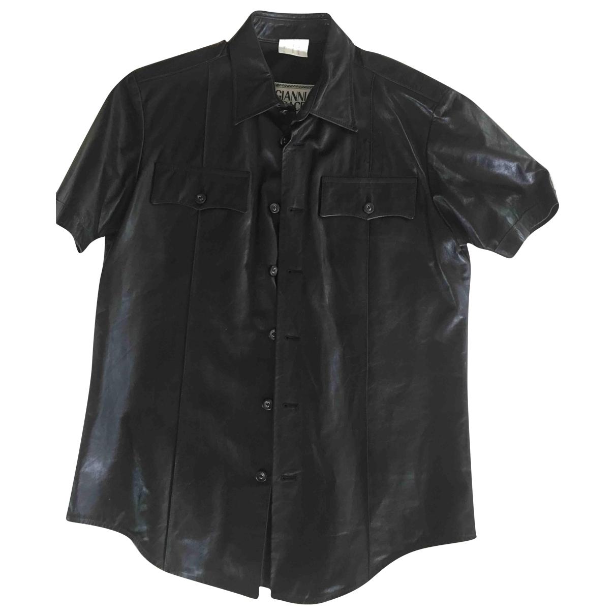 Gianni Versace - Chemises   pour homme en cuir - noir