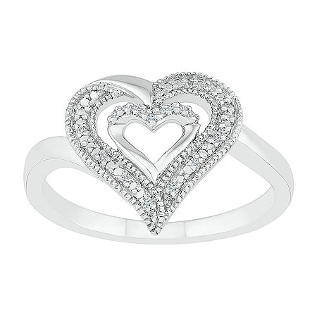 Womens Diamond Accent Genuine White Diamond Sterling Silver Heart Cocktail Ring, 6 , No Color Family