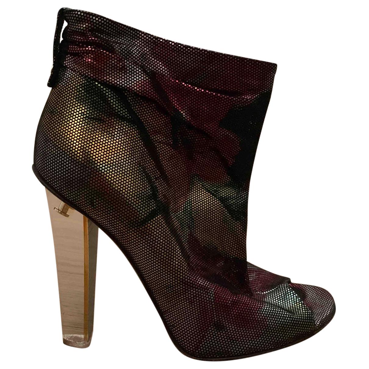 Jimmy Choo - Boots   pour femme en cuir - metallise