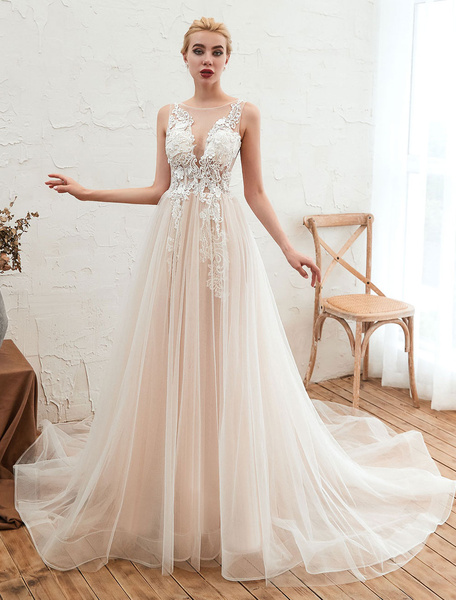 Milanoo Wedding Dress 2020 V Neck Sleeveless A Line Tulle Bridal Gowns With Train