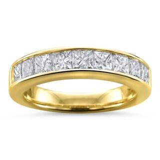 Montebello 14KT Gold Women's 1 1/2ct TDW Certified Diamond 9-stone Wedding Band (Yellow Gold Size 7)