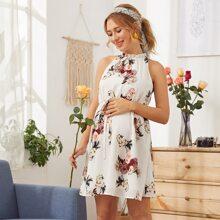 Maternidad vestido floral con cinturon de cuello halter fruncido