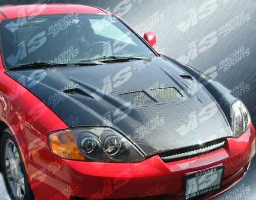 VIS Racing 03HYTIB2DEV-010C Carbon Fiber EVO Hood Hyundai Tiburon 03-06
