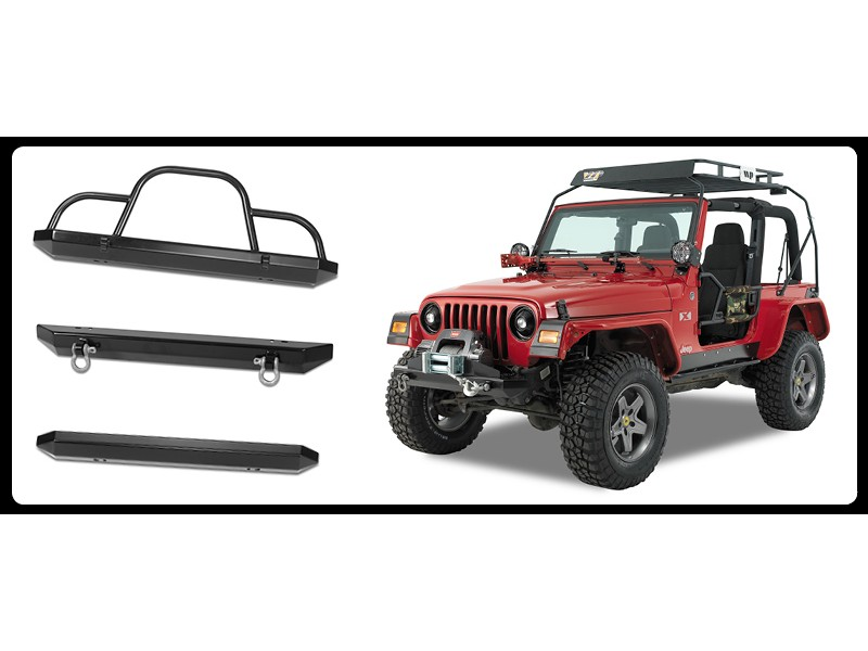 Warrior Products 576 Rock Crawler Rear Bumper with D-Ring Mounts & Receiver Jeep LJ Unlimited 04-06