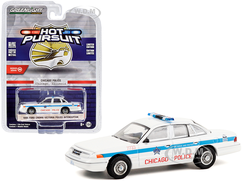 1995 Ford Crown Victoria Police Interceptor White with Blue Stripes