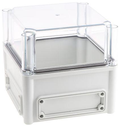 Fibox EK, Grey, Transparent Polycarbonate Enclosure, IP66, IP67, Flanged, 190 x 190 x 180mm