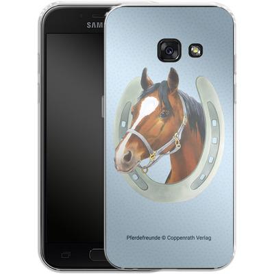 Samsung Galaxy A3 (2017) Silikon Handyhuelle - Pferdefreunde Hufeisen Blau von Pferdefreunde