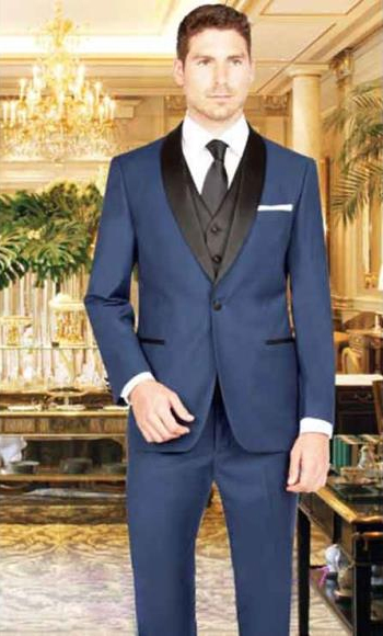 Men's 1Button French Blue Shawl Lapel Single Breasted Vest Tuxedo Suit