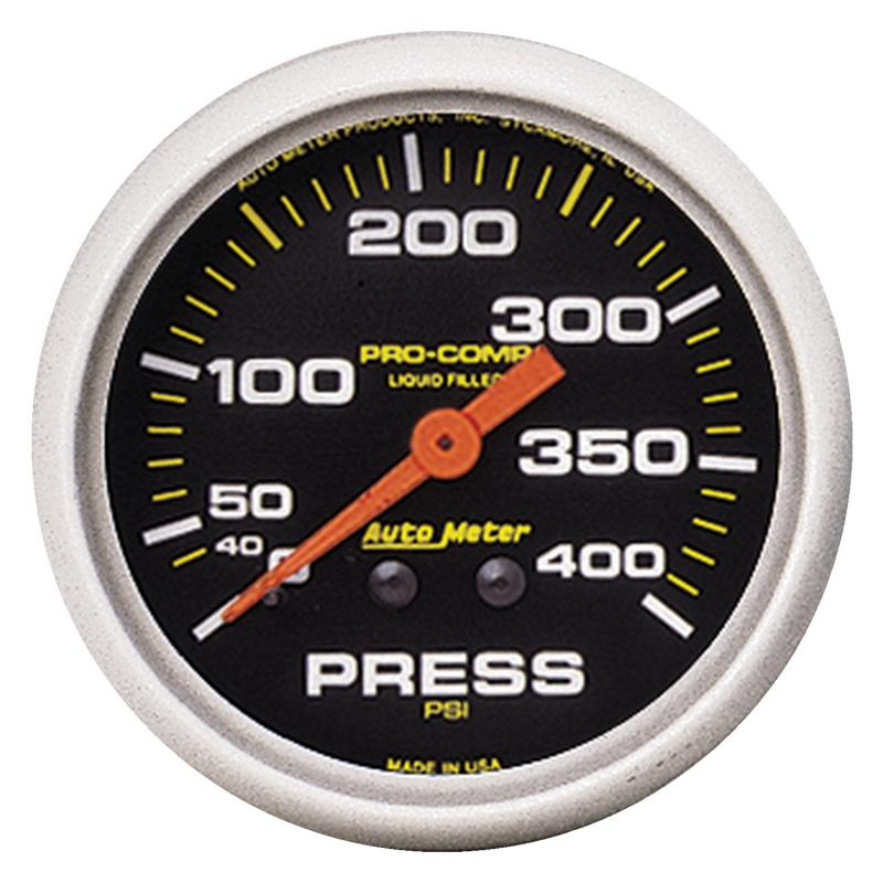 AutoMeter GAUGE; PRESSURE; 2 5/8in.; 400PSI; LIQUID FILLED MECH; PRO-COMP