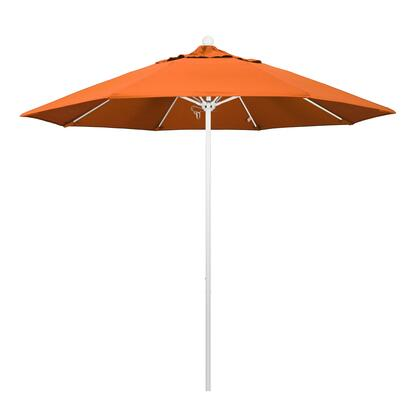 ALTO908170-5417 9' Venture Series Commercial Patio Umbrella With Matted White Aluminum Pole Fiberglass Ribs Push Lift With Sunbrella 2A Tuscan
