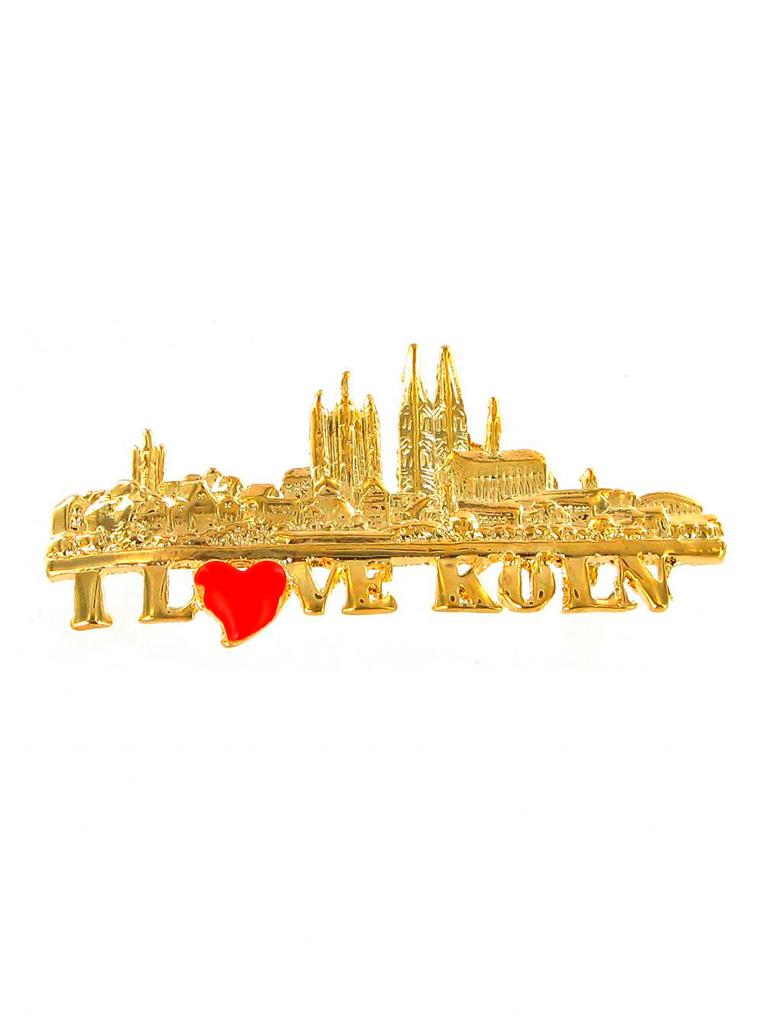 Kostuemzubehor Pin I love Koln / Kolner Skyline Farbe: gold