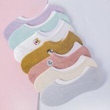 7 Paare Socken mit Karikatur Stickereien