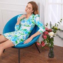 Vestido ajustado de manga de pierna de cordero floral de Tie Dye