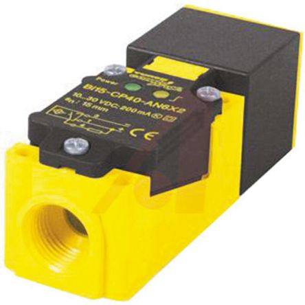 Turck Inductive Sensor - Block, PNP-NO Output, 20 mm Detection, IP67, 1/2-14NPT Connector Terminal