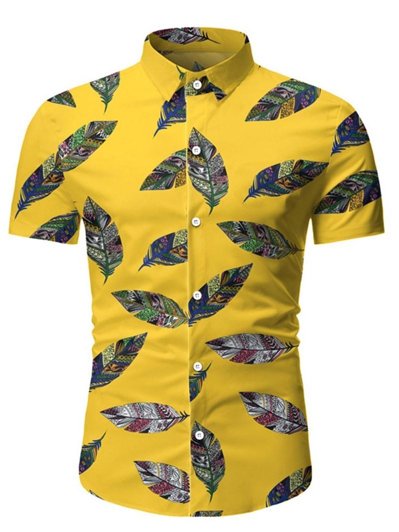 Ericdress Casual Lapel Color Block Men's Slim Shirt