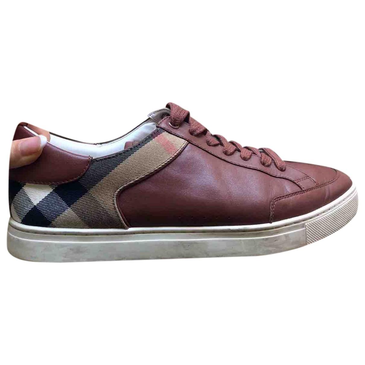 Burberry - Baskets   pour homme en cuir - bordeaux