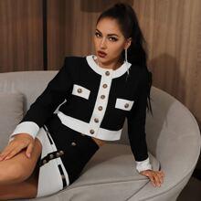 Lucra Button Front Colorblock Top & Bodycon Skirt Set
