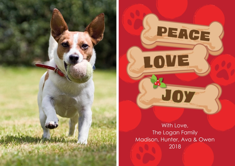 Pets 5x7 Cards, Premium Cardstock 120lb with Rounded Corners, Card & Stationery -Holdiay Peace Love Joy Dog Bone