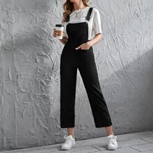 Pocket Front Corduroy Cropped Pinafore Jumpsuit