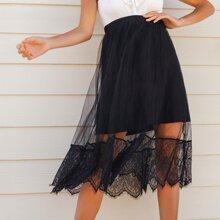 Lace Hem Mesh Overlay Skirt