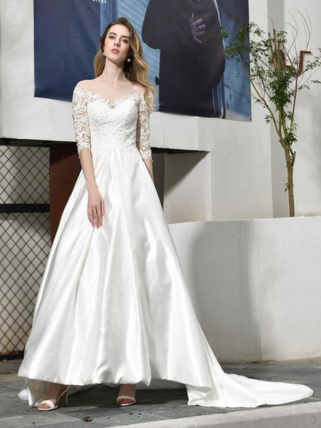 Milanoo Simple Wedding Dress Jewel Neck Half Sleeves A Line Beaded Bridal Dresses With Train