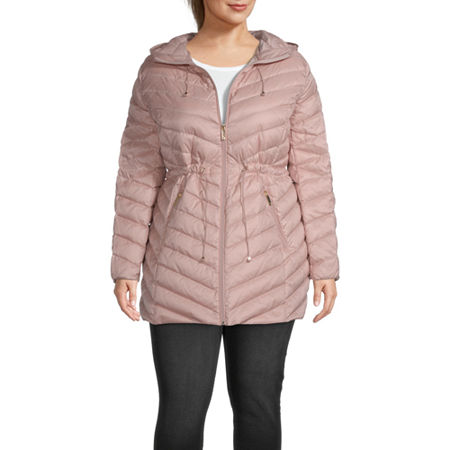 Liz Claiborne Quilted Hooded Packable Water Resistant Midweight Puffer Jacket-Plus, 2x , Pink
